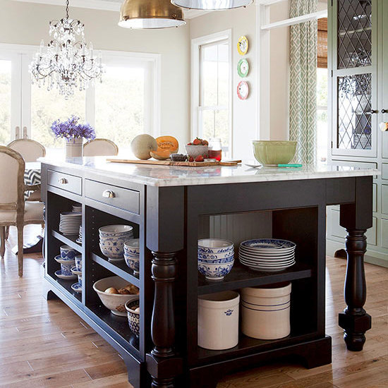 Kitchen Islands With Open Shelving