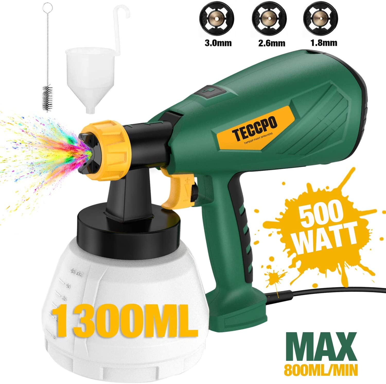 Paint Sprayer, TECCPO 500 Watts Up to 100 DIN-s